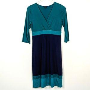 Boden Colorblock Faux Wrap Midi Dress